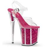Roze 20 cm FLAMINGO-808G Glitter Plateau Hoge Hakken