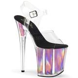 Roze 20 cm FLAMINGO-808HGI Hologram hoge hakken schoenen pleaser