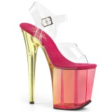 Roze 20 cm FLAMINGO-808MCT paaldans sandalen met hakken