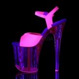 Roze 20 cm FLAMINGO-809UVT Neon Plateau Sandalen met Hoge Hak