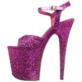 Roze 20 cm FLAMINGO-810LG glitter plateau schoenen dames met hak