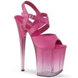 Roze 20 cm FLAMINGO-822T plateau schoenen met hakken