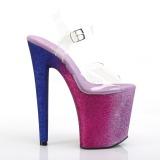 Roze 20 cm XTREME-808OMBRE glitter plateau schoenen dames met hak