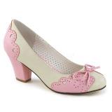 Roze 6,5 cm retro vintage WIGGLE-17 Pinup pumps schoenen met blokhak