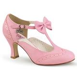 Roze 7,5 cm FLAPPER-11 Pinup pumps schoenen met lage hakken