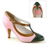 Roze 8 cm PEACH-03 Pinup pumps schoenen met lage hakken