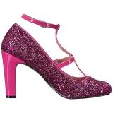 Roze Glitter 10 cm QUEEN-01 grote maten pumps schoenen