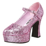 Roze Glitter 11 cm MARYJANE-50G Plateau Pumps Mary Jane