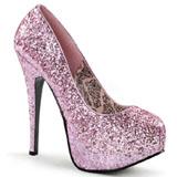 Roze Glitter 14,5 cm Burlesque BORDELLO TEEZE-06G Plateau Pumps Hoge Hak