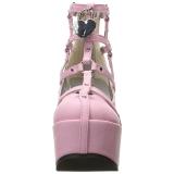 Roze Kunstleer 13 cm POISON-25-2 lolita enkellaarzen met sleehakken