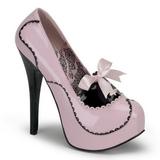 Roze Lak 14,5 cm Burlesque BORDELLO TEEZE-01 Plateau Pumps Hoge Hak
