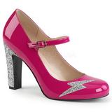 Roze Lakleer 10 cm QUEEN-02 grote maten pumps schoenen