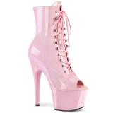 Roze Lakleer 18 cm ADORE-1021 dames enkellaarsjes met plateauzool