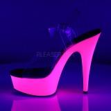 Roze Neon 15,5 cm DELIGHT-608UV Hoge Hakken Plateau