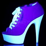 Roze Neon 15 cm DELIGHT-600SK-01 canvas sneakers met hoge hakken