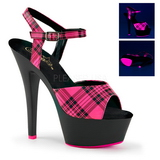 Roze Neon 15 cm KISS-209PL Plateau Hoge Hakken