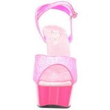Roze Neon 15 cm Pleaser DELIGHT-609UVG Plateau Hoge Hakken