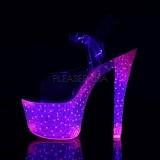 Roze Neon 18 cm Pleaser CRYSTALIZE-308PS Plateau Hoge Hakken