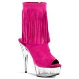 Roze Suede 15 cm DELIGHT-1019 dames enkellaarsjes met franjes