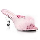 Roze Veren 8 cm BELLE-301F Hoge Mules Schoenen voor Mannen