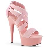 Roze elastische band 15 cm DELIGHT-669 pleaser schoenen met hak