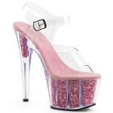 Roze glitter 18 cm Pleaser ADORE-708G paaldans schoenen met hoge hakken