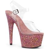 Roze glitter 18 cm Pleaser ADORE-708LG paaldans schoenen met hoge hakken