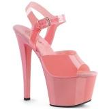 Roze hoge hakken 18 cm SKY-308N JELLY-LIKE stretch materiaal plateau hoge hakken