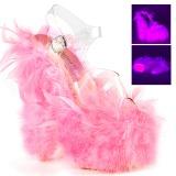 Roze maraboe veren 18 cm ADORE-708F paaldans schoenen met hak