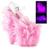 Roze maraboe veren 20 cm FLAMINGO-808F paaldans schoenen met hak