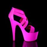Roze neon 18 cm Pleaser ADORE-769UV paaldans schoenen met hoge hakken