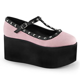 Roze zeildoek 8 cm CLICK-07 lolita gothic schoenen dikke zolen