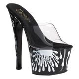 SKY-301-5 wit neon 18 cm plateau slippers dames met hak