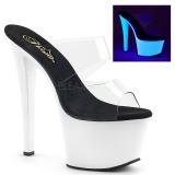 SKY-302UV wit neon 18 cm plateau slippers dames met hak