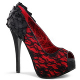 Satijn Rood 14,5 cm Burlesque TEEZE-19 Stiletto Pumps Plateau