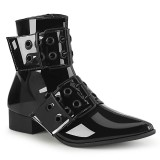 Shiny WARLOCK-55 demonia pointed boots - mens winklepicker boots 2 buckles