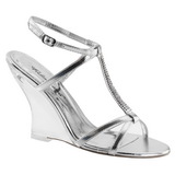 Silver 10,5 cm LOVELY-428 Women Wedge Sandals
