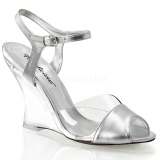 Silver 10,5 cm LOVELY-442 Women Wedge Sandals