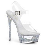 Silver 16,5 cm ECLIPSE-608GT High Heeled Stiletto Sandals