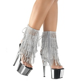 Silver 18 cm ADORE-1017RSF womens fringe ankle boots high heels
