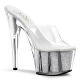 Silver 18 cm ADORE-701G Glitter Platform High Mules