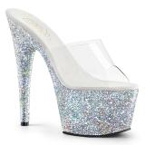 Silver 18 cm ADORE-701LG glitter platform mules womens