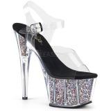 Silver 18 cm ADORE-708CG glitter platform high heels shoes