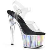 Silver 18 cm ADORE-708HGI Hologram platform high heels shoes