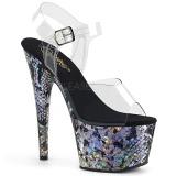 Silver 18 cm ADORE-708SP Hologram platform high heels shoes