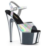 Silver 18 cm ADORE-709HGCH Hologram platform high heels shoes