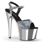 Silver 18 cm ADORE-709MSC Hologram platform high heels shoes