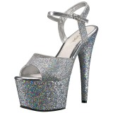 Silver 18 cm ADORE-710LG glitter platform high heels shoes