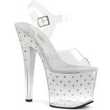 Silver 18 cm RADIANT-708T rhinestone platform high heels