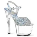 Silver 18 cm SKY-309RS rhinestone platform high heels